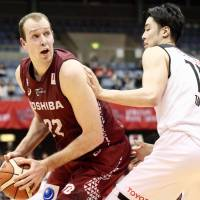 Kawasaki's Nick Fazekas looks to take a shot during the Brave Thunders' 84-76 win over the Alvark Tokyo in Game 1 of their B. League Championship semifinal on Friday. | KAZ NAGATSUKA
