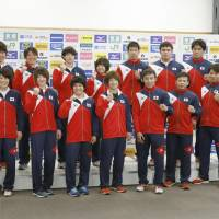 Japan judo national team members for a photo at the National Training Center on Tuesday. | KYODO