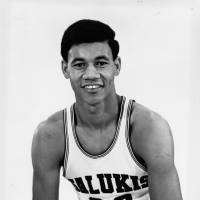 Dick Garrett, seen in an undated photo during his days on the Southern Illinois University basketball team (1966-69), works as an usher at Milwaukee Bucks home games. | SIU ATHLETICS