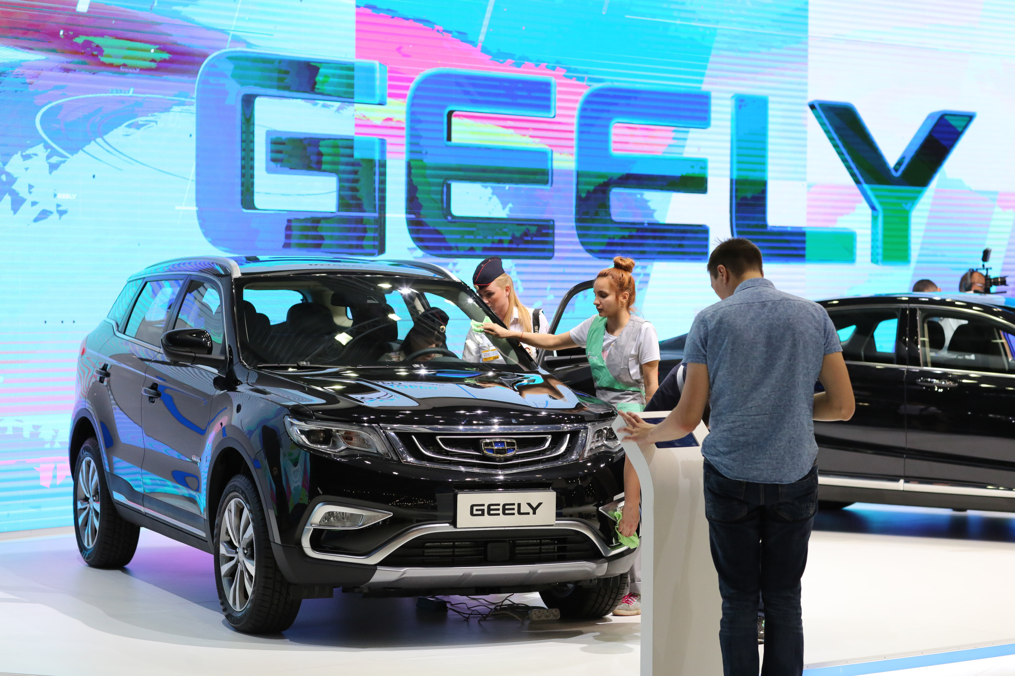A Geely NL-3, manufactured by Geely Automobile Holdings, is displayed at the Moscow International Automobile Salon in 2016. | BLOOMBERG