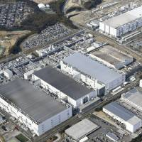 This aerial photo shows Toshiba Corp.'s flash memory plant in Yokkaichi, Mie Prefecture, on May 15. KYODO