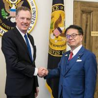 Lighthizer presses to reduce U.S. trade deficit with Japan during talk with trade chief Seko