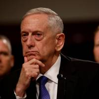 U.S. Defense Secretary James Mattis testifies before the Senate Armed Services Committee on Capitol Hill in Washington on Tuesday. | REUTERS