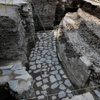 A new Aztec discovery of the remains of the main temple of the wind god Ehecatl, a major deity, is seen during a tour of the area, located just off the Zocalo plaza in the heart of downtown Mexico City, on Wednesday. | REUTERS