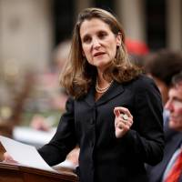 Canadian Foreign Affairs Minister Chrystia Freeland delivers a speech on Canada's foreign policy in the House of Commons on Parliament Hill in Ottawa Tuesday. | REUTERS