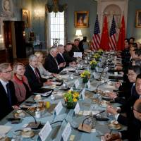 Top U.S. and Chinese diplomats meet at the State Department in Washington on Wednesday.   REUTERS