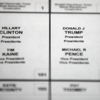 Candidates for president appear on a ballot for the 2016 election.   AP