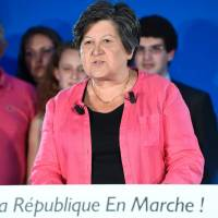 Republic on the Move (LREM) Acting President Catherine Barbaroux speaks after polls close Sunday for the second round of the French parliamentary elections in Paris. | AFP-JIJI