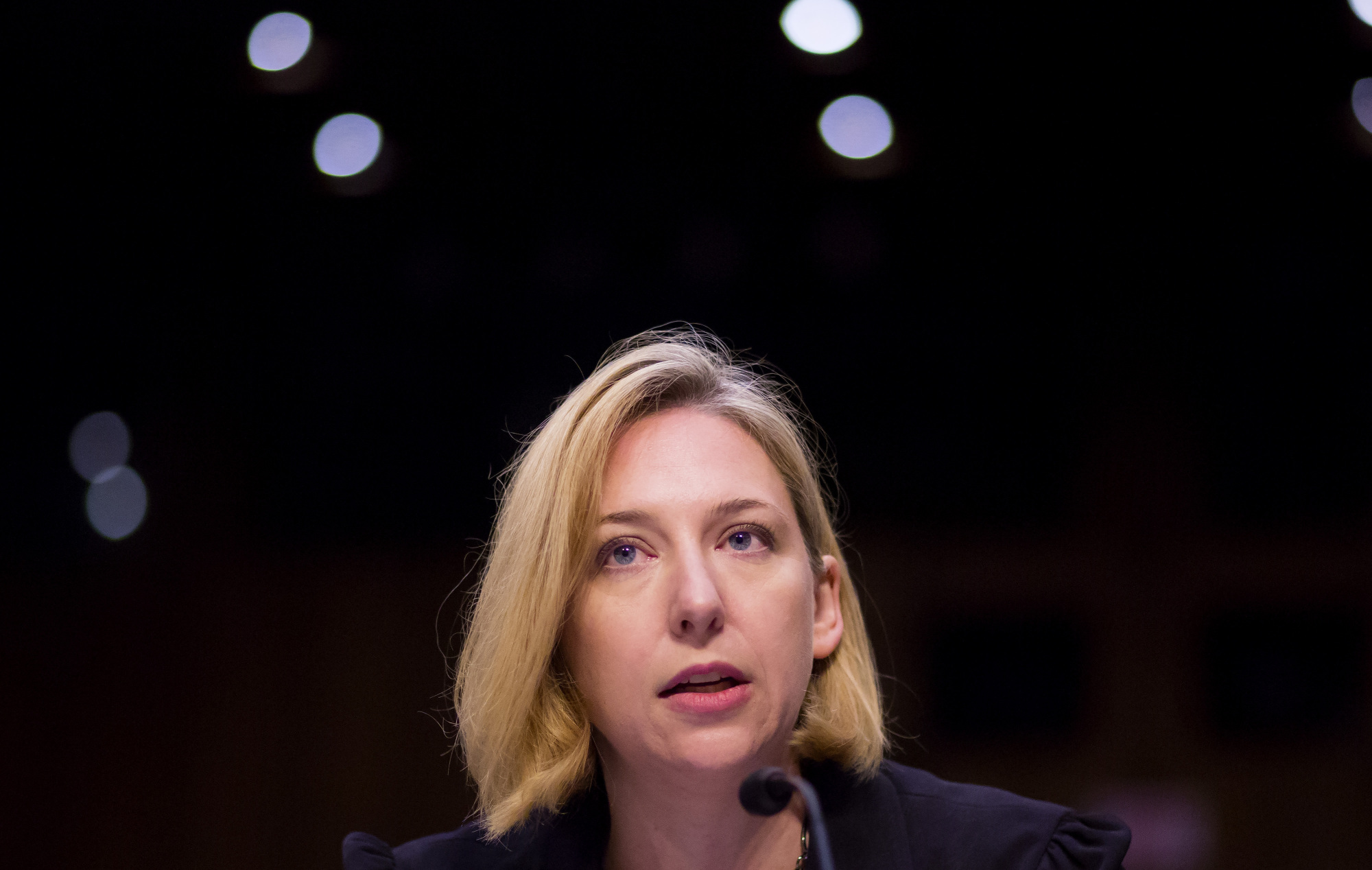 Jeanette Manfra, acting director of undersecretary, national protection and programs directorate at the Department of Homeland Security (DHS), speaks during a Senate Intelligence Committee hearing in Washington on Wednesday.   BLOOMBERG