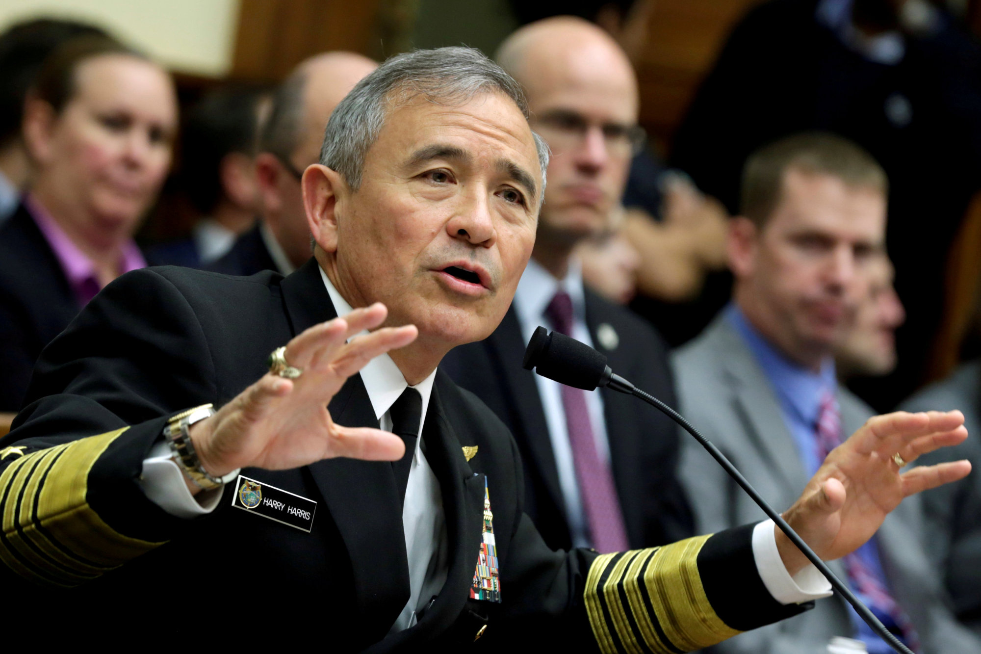 Adm. Harry Harris testifies before a House Armed Services Committee hearing on April 26. | REUTERS