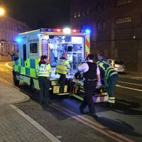 Emergency services are seen near Finsbury Park as British police say there are casualties after reports of a vehicle colliding with pedestrians in North London early Monday.   REUTERS