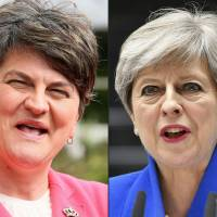 Democratic Unionist Party leader Arlene Foster is due to meet Britain's Prime Minister Theresa May on Tuesday for crunch talks, which could force the delay of the government's presentation of its legislative program to parliament by Queen Elizabeth II, due on June 19.   AFP-JIJI