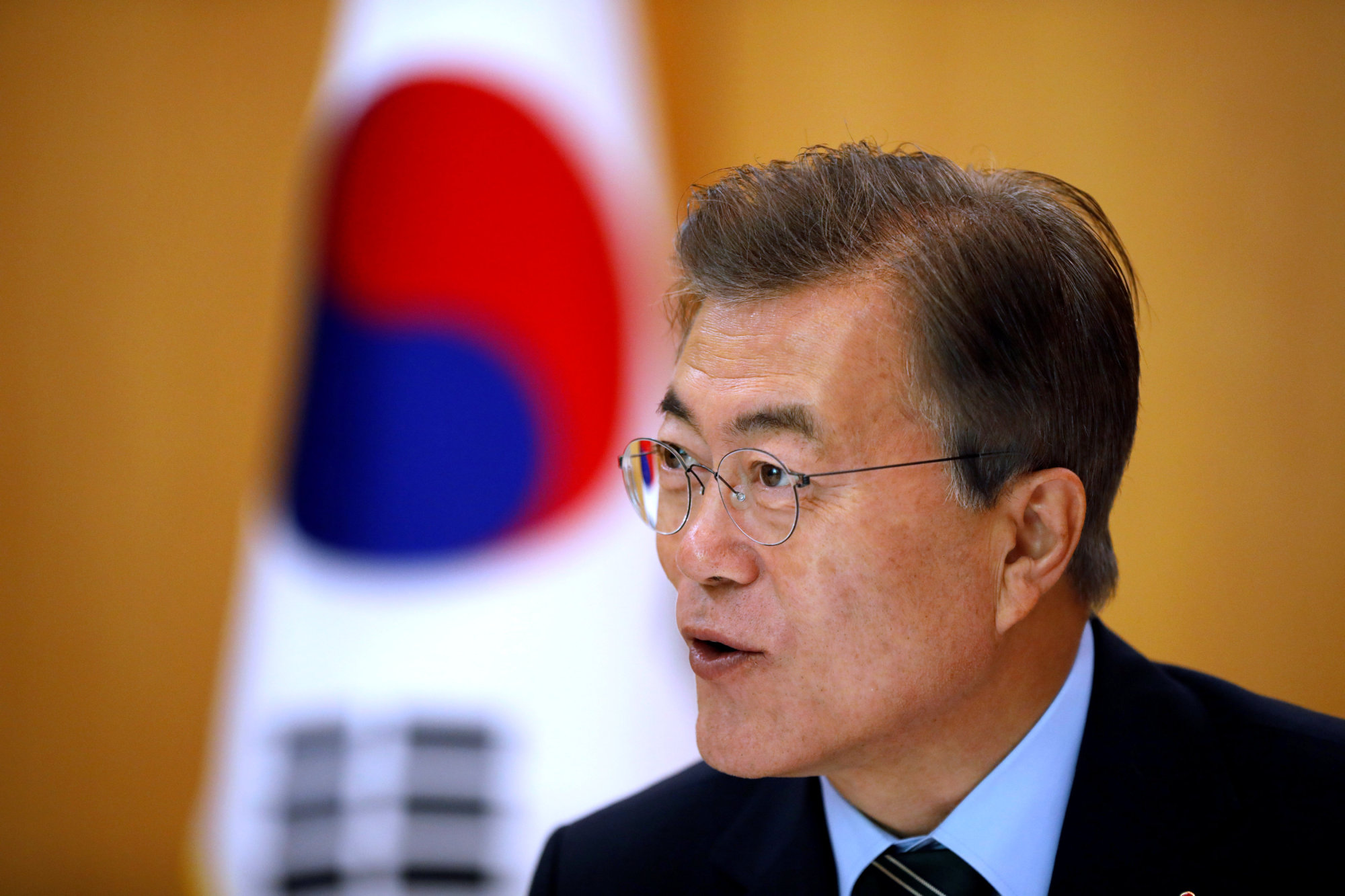 South Korean President Moon Jae-in speaks during an interview with Reuters at the Presidential Blue House in Seoul Thursday. | REUTERS