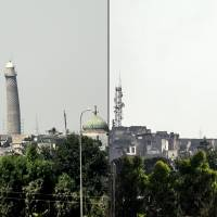 Iraqis say Islamic State blew up iconic 12th century mosque, leaning tower in 'formal declaration of defeat'