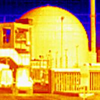 An image taken with a thermal camera shows the shuttered nuclear power plant in Biblis, southwest Germany, in March 2011. The picture does not show any temperature difference outside the power plant. | REUTERS