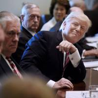 Top officials gush with accolades at Trump's first full Cabinet gathering