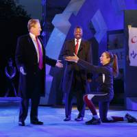 Tina Benko (left) portrays Caesar's wife, Calpurnia, and Gregg Henry (center left), portrays a Donald Trump-like Julius Caesar during a rehearsal for The Public Theater's Free Shakespeare in the Park production of 'Julius Caesar' in New York on May 21. | AP