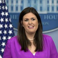 White House deputy press secretary Sarah Huckabee Sanders speaks during the daily briefing at the White House in Washington Tuesday.   AP