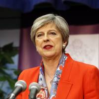 Britain's Prime Minister Theresa May speaks after the declaration at her constituency was made for in the general election in Maidenhead, England on Friday.   AP