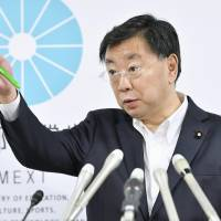 Education minister Hirokazu Matsuno faces the media at a news conference Tuesday in Tokyo over the discovery of a document related to an ongoing government favoritism scandal involving school operator Kake Gakuen. | KYODO