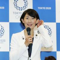 Olympic minister Tamayo Marukawa explains the design competition selection process for the official mascot of the 2020 Tokyo Games during a news conference in May.   KYODO