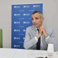 Monika Queisser (left) and Stephane Carcillo of the Organisation for Economic Co-operation and Development speak in an interview in Tokyo on May 29. | YOSHIAKI MIURA