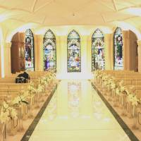 St. Raphael Chapel Ginza is decorated with 200-year-old stained glass windows imported from England and reconstructed in Japan in this photo taken on June 3 in Tokyo's Ginza district. | KYODO