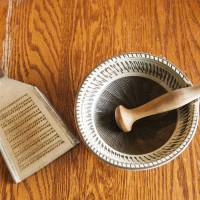 Tried and true: An oroshigane grater (left) and a set of suribachi mortar and surikogi pestle, traditional tools for a modern kitchen. | MAKIKO ITOH