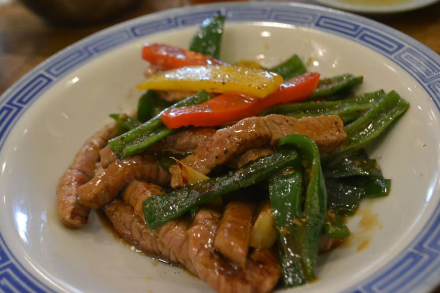 Sichuan slam: Taihou's Omi beef and peppers in a spicy sauce.	                          J.J. O'Donoghue