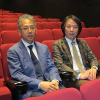 A team for theater: Kazutoshi Tanuma (left), the man behind the new Alternative Theatre, and director Shunichi Okamura aim to attract a diverse audience with the venue's first production, a samurai tale titled 'Alata.' | NOBUKO TANAKA