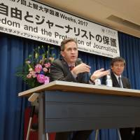 David Kaye, the U.N.-appointed special rapporteur on freedom of expression, speaks at a news conference in Tokyo on Friday. | TOMOHIRO OSAKI