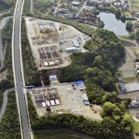 Awaiting its fate: An aerial view of the construction site in Imabari, Ehime Prefecture, at which the Okayama University of Science plans to build a new veterinary school. | KYODO