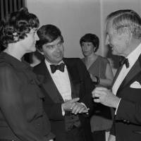 Rand Castle (center) and his wife chat with David Rockefeller during the 'Horyu-ji: Temple of the Exalted Law' exhibition in New York in 1982. | WILLIAM IRWIN