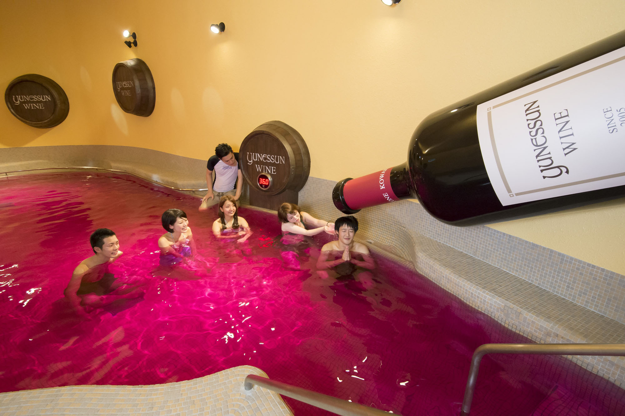 Drink bathing: Yunessun Spa Resort's red wine bath can be as much of a hit with kids as it is with adults. | YUNESSUN SPA RESORT