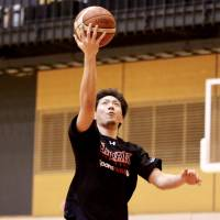 Japan men's national team guard Makoto Hiejima, seen in a file photo from this year's training camp, is one of the main attractions for the Akatsuki Five, who will face Uruguay in two exhibition games in late July. | KAZ NAGATSUKA