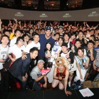 Brook Lopez poses with fans during an NBA Finals viewing party last Friday in Tokyo. | COURTESY OF WOWOW