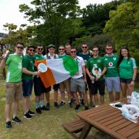 Ireland rugby fans hang out before Saturday's game against Japan in Shizuoka. | ANDREW MCKIRDY