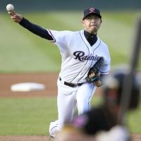 Iwakuma lasts two innings in rehab start