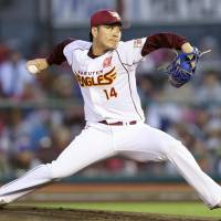 Eagles hurler Takahiro Norimoto fires a pitch during Thursday's game against the Giants at Kobo Park. | KYODO