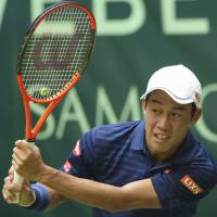 Kei Nishikori couldn't complete his second-round match against Karen Khachanov at the Gerry Weber Open on Thursday in Halle, Germany. Nishikori retired in the first set. | AP