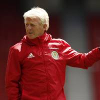 Scotland manager Gordon Strachan directs a training session on Wednesday in Glasgow, Scotland. | REUTERS