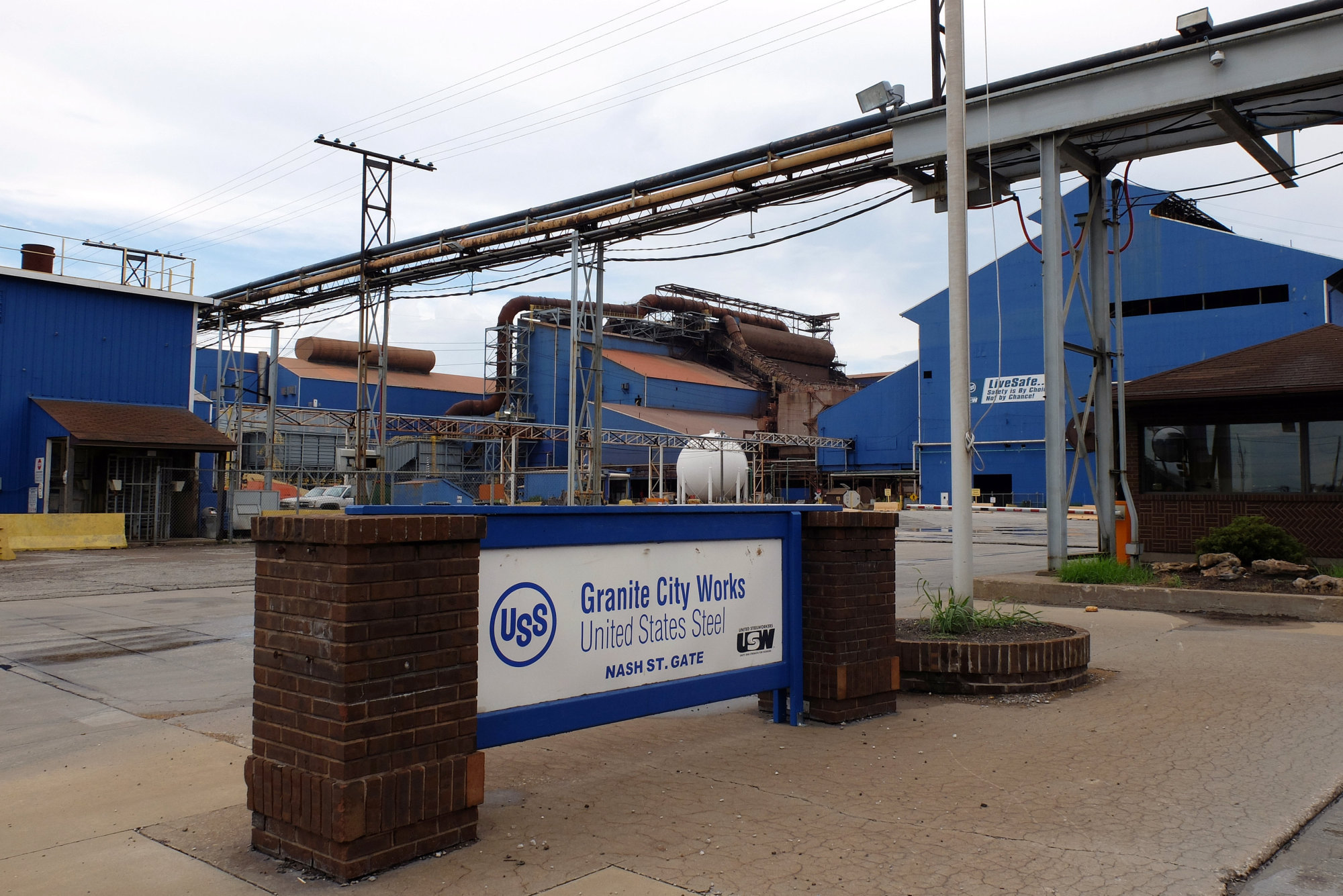 The entrance to idled U.S. Steel Corp. steelmaking operations in Granite City, Illinois, is seen on July 5. U.S. President Donald Trump is considering imposing import restrictions based on a national security review of the steel industry. | REUTERS