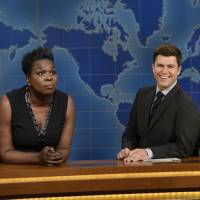 Leslie Jones, left, and Colin Jost on 'Saturday Night Live.' Jones was nominated for an Emmy Award for outstanding supporting actress in a comedy series on Thursday. | WILL HEATH / NBC / VIA AP
