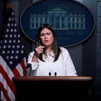 Deputy White House Press Secretary Sarah Huckabee Sanders holds the daily briefing at the White House in Washington Wednesday. | REUTERS