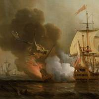 A British squadron attacks the Spanish gold fleet on May 28, 1708. A Spanish ship was captured, another was forced to fail, and the San Jose, carrying the bulk of the treasure, was destroyed by the explosion of the Santabarbara. This painting was painted by the English painter Samuel Scott sometime before 1772. | VIA WIKIMEDIA COMMONS