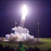 A Terminal High Altitude Area Defense interceptor is launched from a U.S. military site in Kodiak, Alaska, on Tuesday. | REUTERS