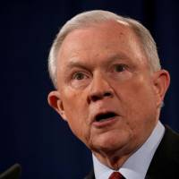 U.S. Attorney General Jeff Sessions speaks during a news conference at the Justice Department in Washington on Thursday. | REUTERS