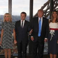 Twitter storm quick to follow after Trump tells French first lady she is in 'such good shape'