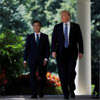In meeting with Moon, Trump calls for firm response to North Korea but targets Seoul on trade