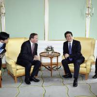 Abe stops in Sweden to meet Lofven, reaffirm security ties after Stockholm attack